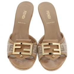 Fendi Beige Zucchino Canvas and Leather FF Buckle Slide Sandals Size 36