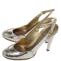 Fendi Gold Patch Patent Leather Slingback Pumps Size 37