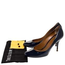 حذاء كعب عالى فندى جلد لامع كحلى مقاس 39.5