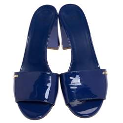 Fendi Blue Patent Leather Block Heel Slides Size 39