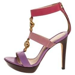 Fendi Tricolor Leather Chain Link Embellished Platform Sandals Size 37