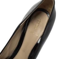 حذاء كعب عالى فندى نعل سميك مقدمة مفتوحة فيونكة جلد لامع أسود مقاس 36