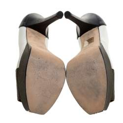 حذاء كعب عالي فندي فنديستا نعل سميك جلد نقش سحلية ثلاثي اللون مقاس 38