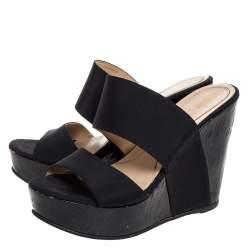 Fendi Black Fabric Wedge Platform Slide Sandals Size 37.5