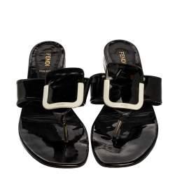 حذاء بإصبع فندى جلد لامع أسود مقاس 40