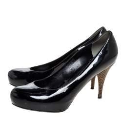 حذاء كعب عالى نعل سميك جلد لامع أسود مقاس 41