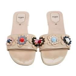 Fendi Cream Patent Leather Flower Embellished Flat Slides Size 41
