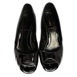 Fendi Patent Leather Peep Toe Platform Pumps Size 37.5