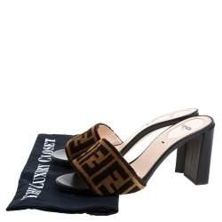 Fendi Brown Zucca Velvet Slide Sandals Size 36