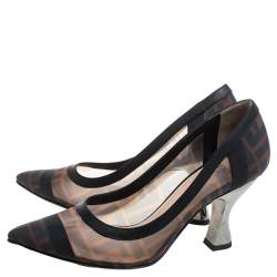 Fendi Brown/Black Zucca Mesh And Leather Trim Colibrì Pointed Toe Pumps Size 35