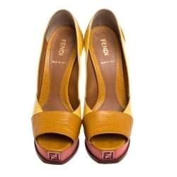 Fendi Yellow/Pink Fendista Colorblock Lizard-Embossed Leather Peep Toe Platform Pumps Size 36