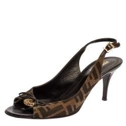 Fendi Brown Zucca Canvas Slingback Sandals Size 39