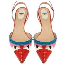 Fendi Multicolor Patent Leather Monster Eyes Studded Slingback Sandals Size 38