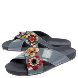 Fendi Blue Patent Leather Flowerland Flat Slides Size 38.5