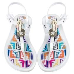 Fendi White Jelly Logo Charm Sunny Thong Flat Sandals Size 38