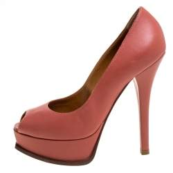 Fendi Salmon Pink Leather Fendista Platform Pumps Size 38.5