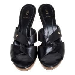 Fendi Black Leather Criss Cross Clog Slide Sandals Size 38
