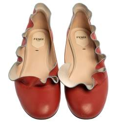 Fendi Red Leather Ruffle Trim Ballet Flats Size 39