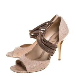 Fendi Beige Python Embossed Leather Strappy Half D'Orsay Peep Toe Pumps Size 40