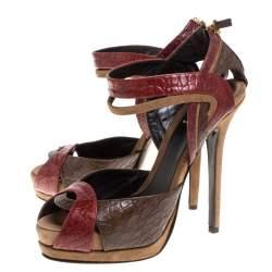 Fendi Multicolor Croc Embossed Leather Platform Sandals Size 38