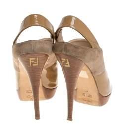 Fendi Beige/Tan Patent Leather and Suede Slingback Platform Sandals Size 40