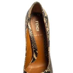 Fendi Black Monochrome Python Embossed  Leather FF Heels Peep Toe Pumps Size 37