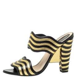 Fendi Gold/Black Striped Wave Leather Sandals Size 39