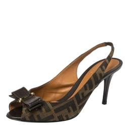 Fendi Brown Zucca Canvas And Leather Bow Slingback Sandals Size 39.5