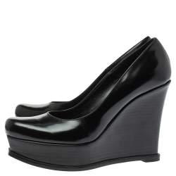 Fendi Black Leather Fendista Wedge Pumps Size 40