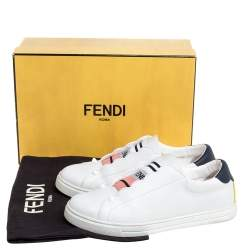 Fendi White Leather Scalloped Low-Top Sneakers Size 38