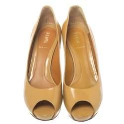 Fendi Beige Patent Leather Zucchino Heel Peep Toe Platform Pumps Size 37