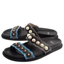 Fendi Multicolor Leather Faux Pearl Embellished Flat Slides Size 40
