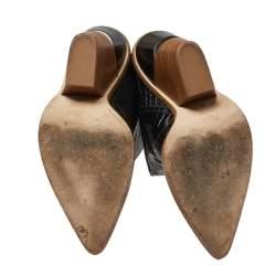 Fendi Black Croc Embossed Leather Cowboy Boots Size 39