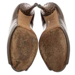 Fendi Metallic Bronze Leather Zucchino Heel Peep Toe Pumps Size 38.5