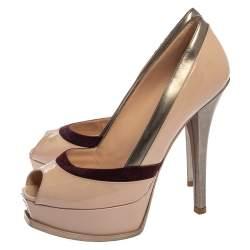 Fendi Tri Color Patent Leather and Suede Fendista Peep Toe Platform Pumps Size 39