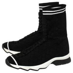 Fendi Black Knit Fabric Sock High Top Sneakers Size 37.5
