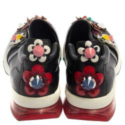Fendi Black Leather Flower-Embellished Sneakers Size 38