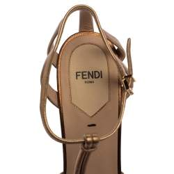 Fendi Metallic Dull Gold Leather T Strap Platform Sandals Size 37.5