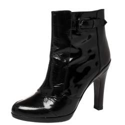 Fendi Black Patent Leather Zip Detail Ankle Boots Size 38