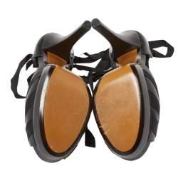 حذاء كعب عالى فندى نعل سميك ملتف على الكاحل ريبون دورسيه جلد أسود مقاس 39