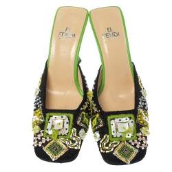 Fendi Multicolor Canvas and Leather Beaded Square Toe Mule Sandals Size 37.5