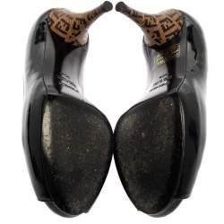 حذاء كعب عالى فندى نعل سميك مقدمة مفتوحة كعوب أف أف جلد لامع أسود مقاس 35.5