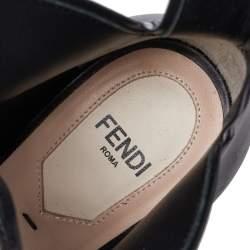 Fendi Black Leather Flowerland Embellished Sandals Size 38