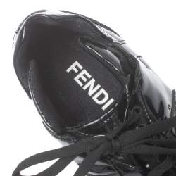 Fendi Black Patent Leather Low Top  Sneakers Size 39.5