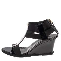 Fendi Black Patent Leather And Elastic T-Strap Espadrille Wedge Sandals Size 37.5