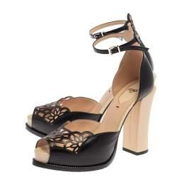 Fendi Black Leather Chameleon Block Heel Ankle Strap Sandals Size 37.5