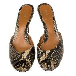 Fendi Multicolor Python Embossed Leather Peep Toe Slide Sandals Size 40