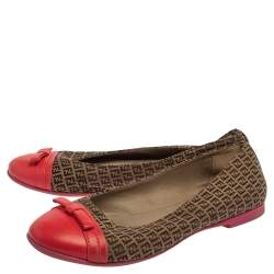 Fendi Beige/Pink Canvas And Leather Zucchino Ballet Flats Size 36
