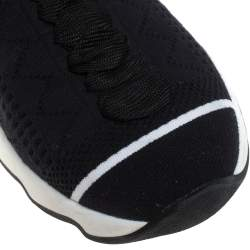 حذاء رياضى فندى مرتفع من أعلى جورب قماش تريكو أزرق / أسود مقاس 39
