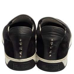 Fendi Grey/Black Suede Monster Eyes Slip On Sneakers Size 40
